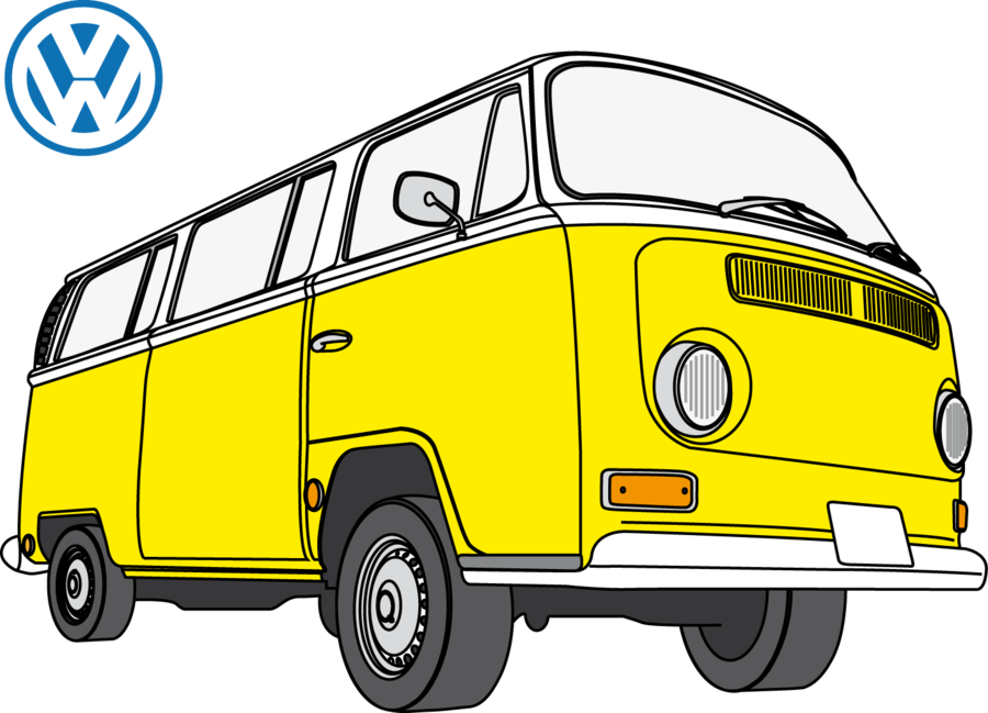 banner freeuse Camper clipart black and white. Kombi pencil in color