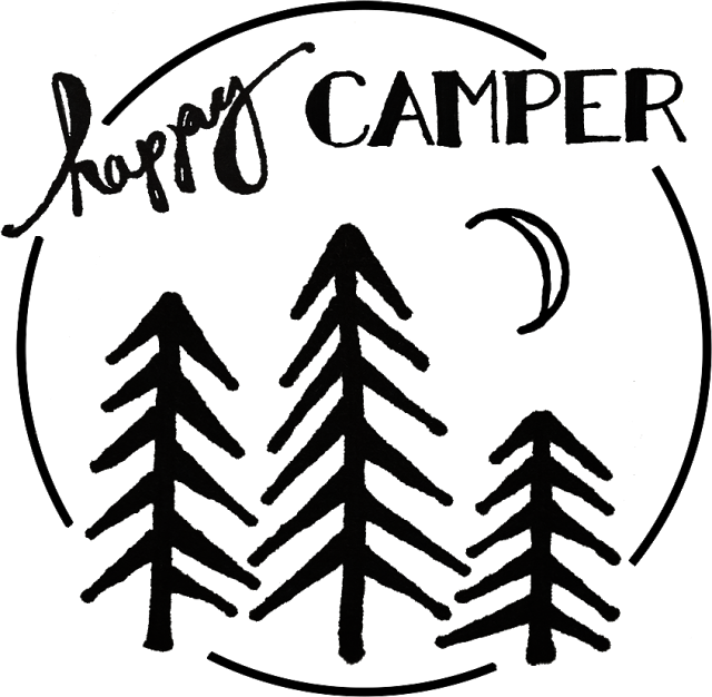 vector library Happy stencil for freezer. Camper clipart black and white