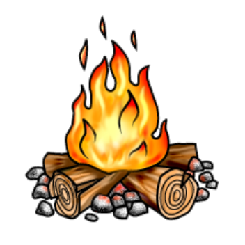 banner royalty free library Campfire clipart. Clear background pencil and.