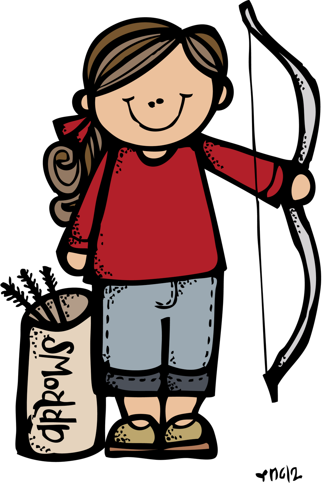 vector free library Girl archery clipart. Melonheadz lds illustrating girls