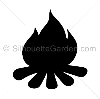 svg black and white stock Campfire Silhouette