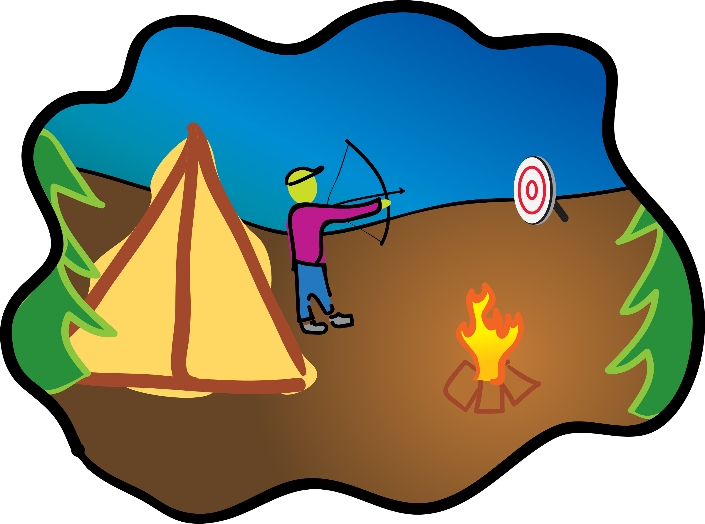 picture free download Camping clipart camping scene. Happy archery big image.