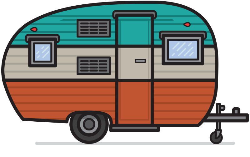 graphic library stock rv drawing happy camper #102493073