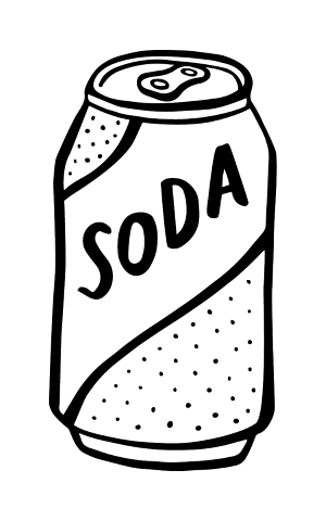 free library  collection of cans. Soda clipart black and white