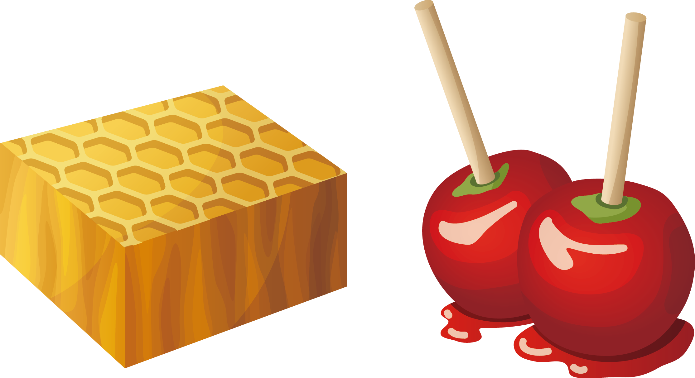 graphic library library Candy apple caramel fruit. Apples and honey clipart