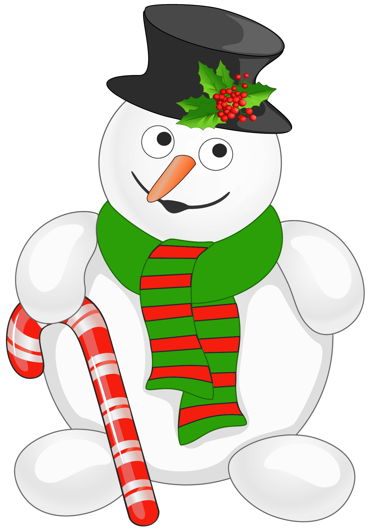 image black and white Snowman with cane png. Character clipart candy.