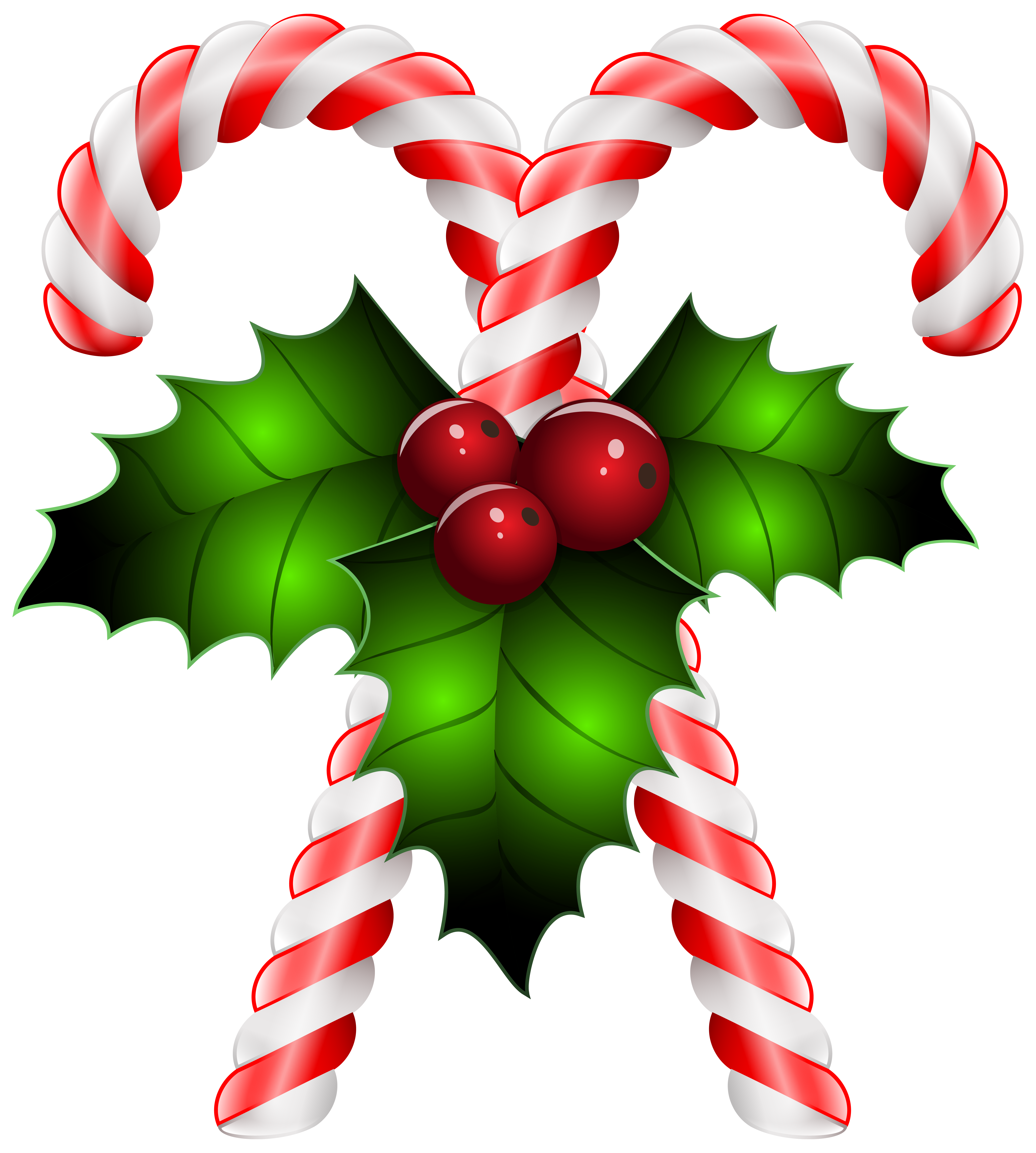 clipart royalty free library Cane clipart three. Candy canes with holly.