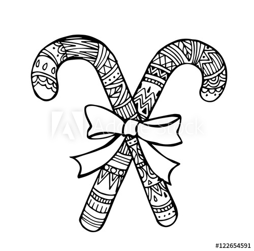 image stock Vector of hand draw. Canes clipart zentangle.