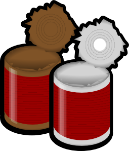 free Two open cans clip. Canned clipart.