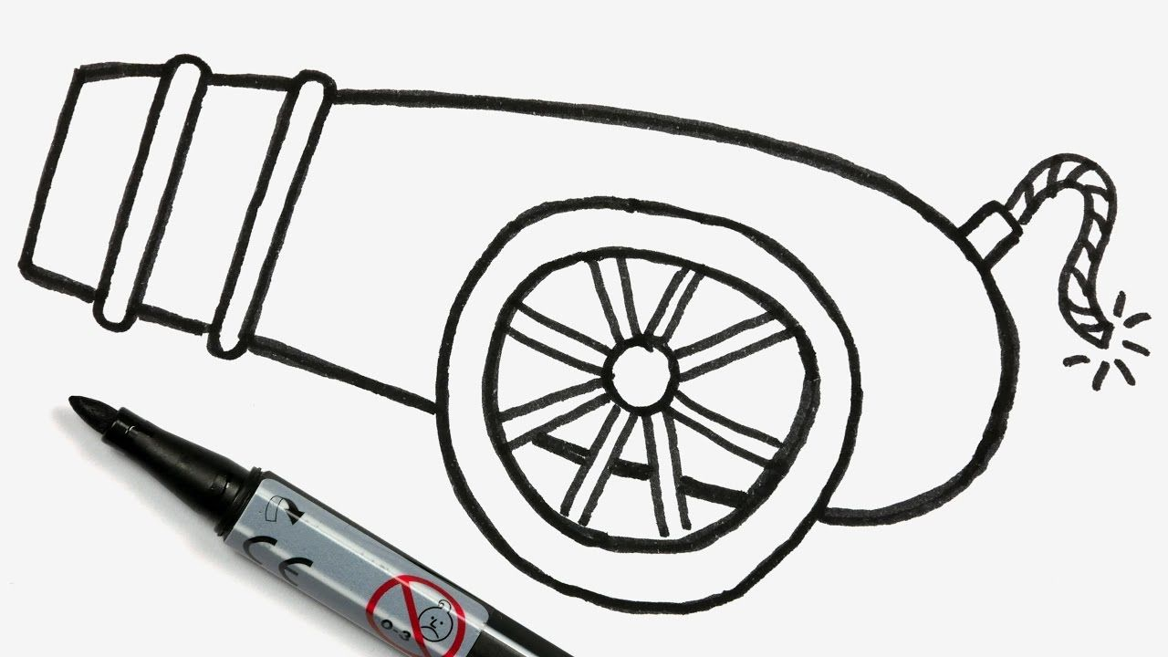 svg black and white How to a cartoon. Vector cannon easy draw