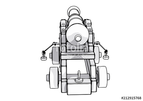 jpg black and white stock Vector cannon sketch. Of an old stock