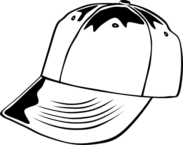 png black and white Baseball cap b w. Hat clipart black and white