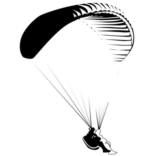 png transparent stock Cropped tandem paragliding town. Cape black and white clipart