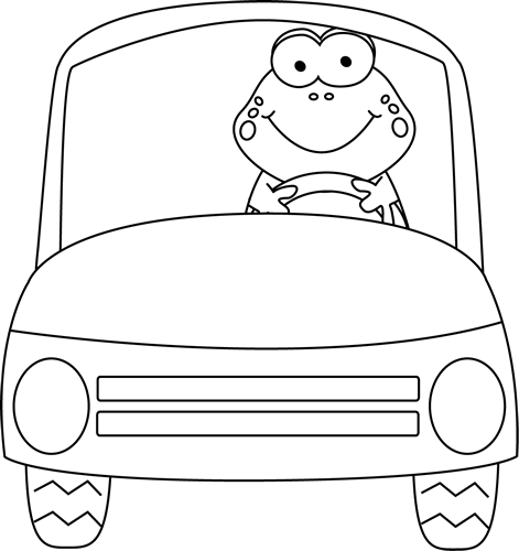 stock Frog driving a car. Cars clipart black and white