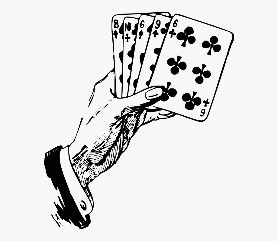 picture freeuse stock Cards hand holding playing. Card clipart black and white.