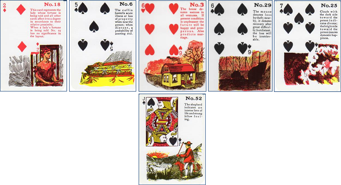 clipart black and white stock Drama Monitoring with Lenormand Cards or Gypsy Witch Fortune Telling