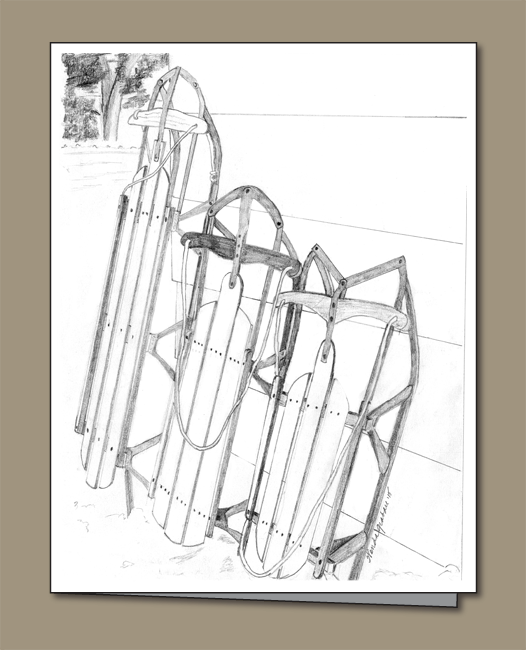 jpg free download Drawing snow pencil. Runner sleds winter card