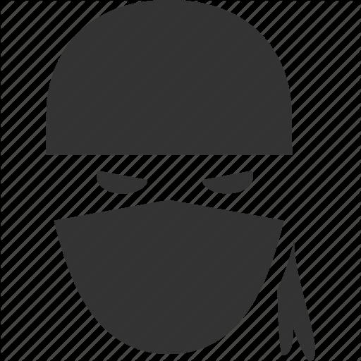 vector free black and white ninja head vector