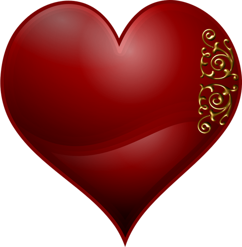 freeuse library Vector clip art of heart playing card symbol with Wavy spiral patte