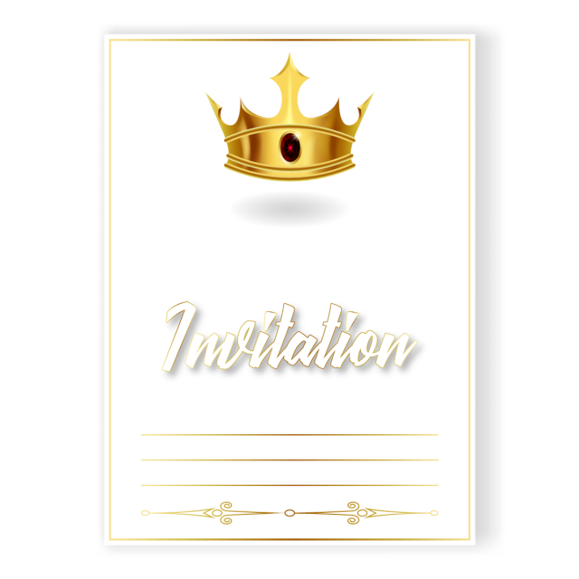 graphic black and white stock Invitation With A Golden Crown