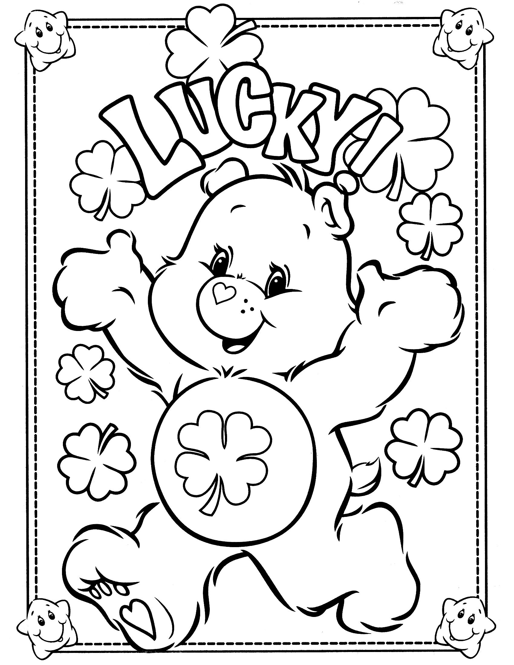 image black and white Free Printable Care Bear Coloring Pages For Kids