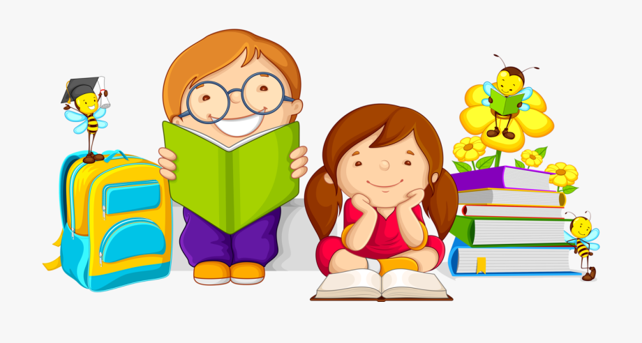 clip transparent download Kid studying clipart. Caring book kids cartoon