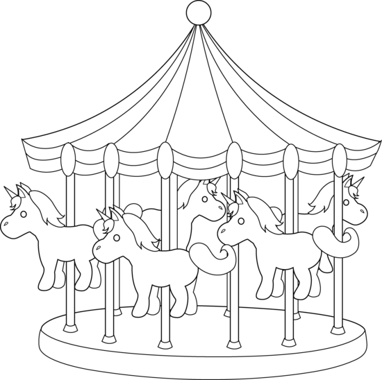 image library stock Carousels drawings . Carnival clipart black and white