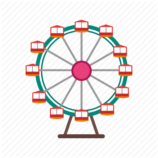 vector freeuse Outdoor fun flat by. Carnival ferris wheel clipart.