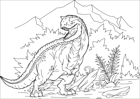 graphic free Carnotaurus Dinosaur Coloring Page. Free printable pages