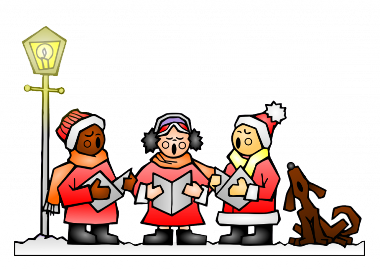 clip library Christmas carolers in red. Caroling clipart theme.