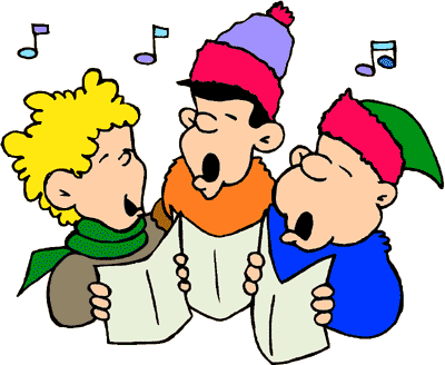 jpg black and white library Caroling clipart border. Free christmas carolers download.