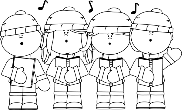 clip freeuse Carolers clipart. Black and white christmas.