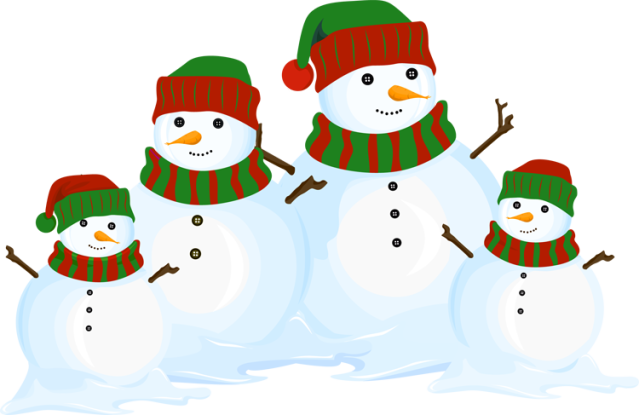 vector black and white library Great Clip Art of Snowmen and Carolers