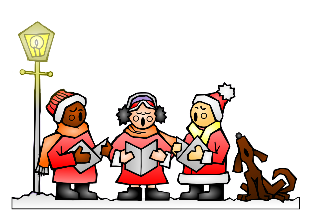 banner black and white stock Christmas carols fun for. Caroling clipart theme.