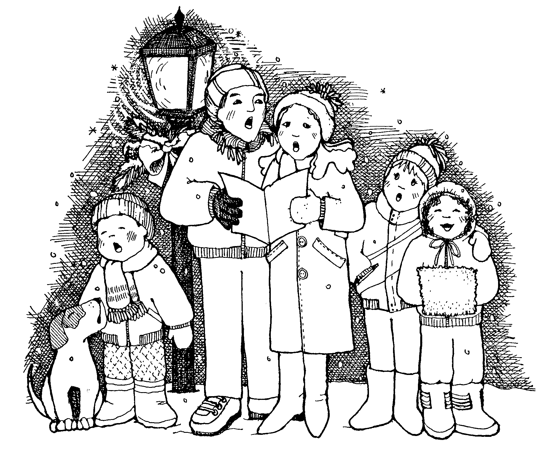 picture transparent Free christmas cliparts download. Carolers clipart black and white.