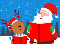 jpg black and white library Carolers clipart santa. Caroling singing christmas tree.
