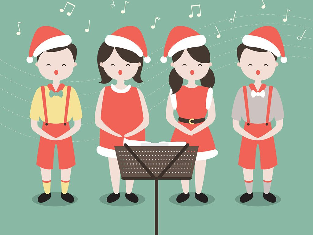 banner Caroling transparent free . Carolers clipart village.
