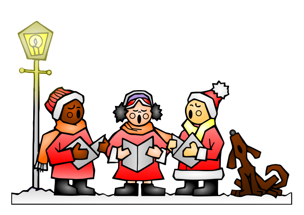clip black and white stock Christmas caroling in red. Carolers clipart group.