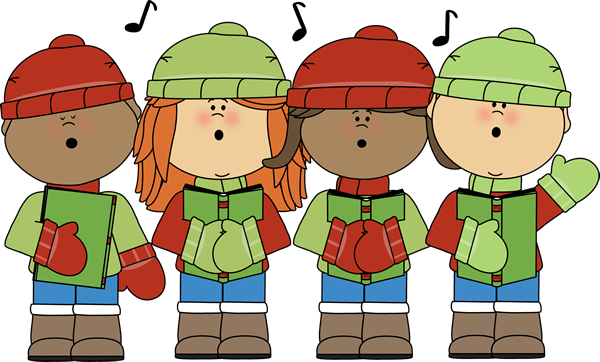 clipart freeuse library Kids Signing Christmas Carols Clip Art