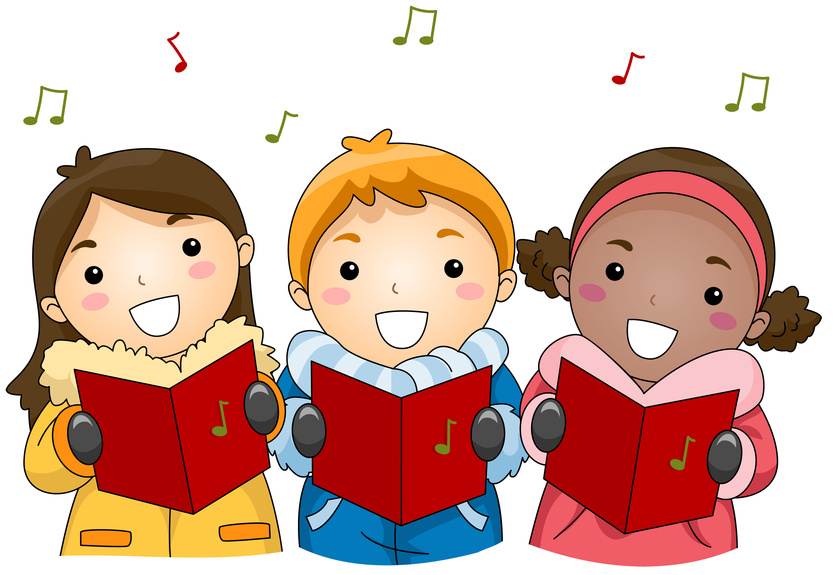 graphic library Learn french by singing. Caroling clipart preschool.