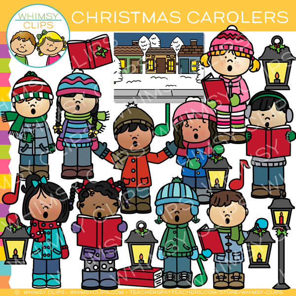 svg royalty free library Caroling clipart theme. Christmas clip art .