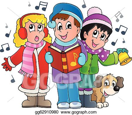 jpg royalty free download Eps vector christmas carol. Caroling clipart theme.