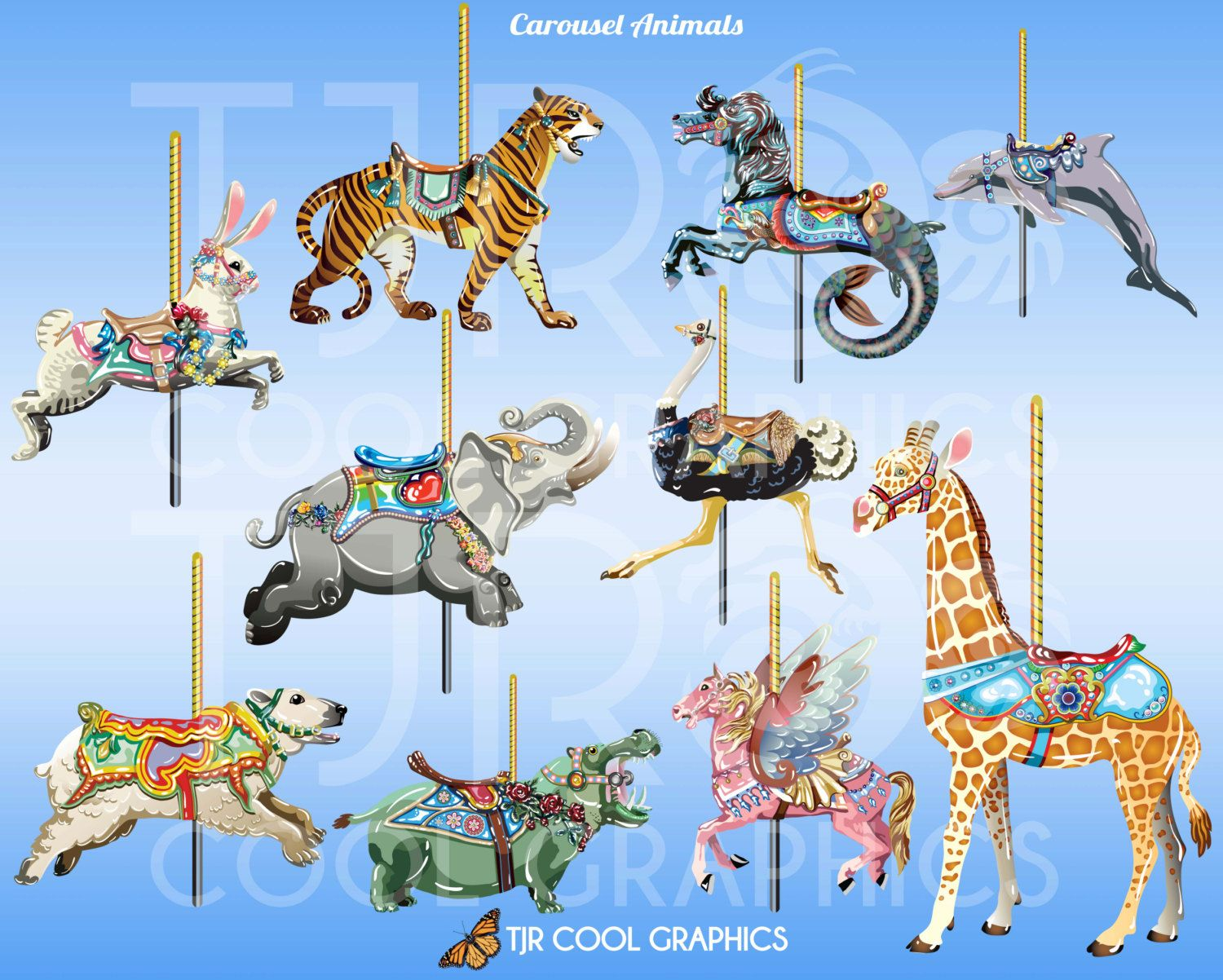 jpg royalty free download Animals horses . Carousel animal clipart
