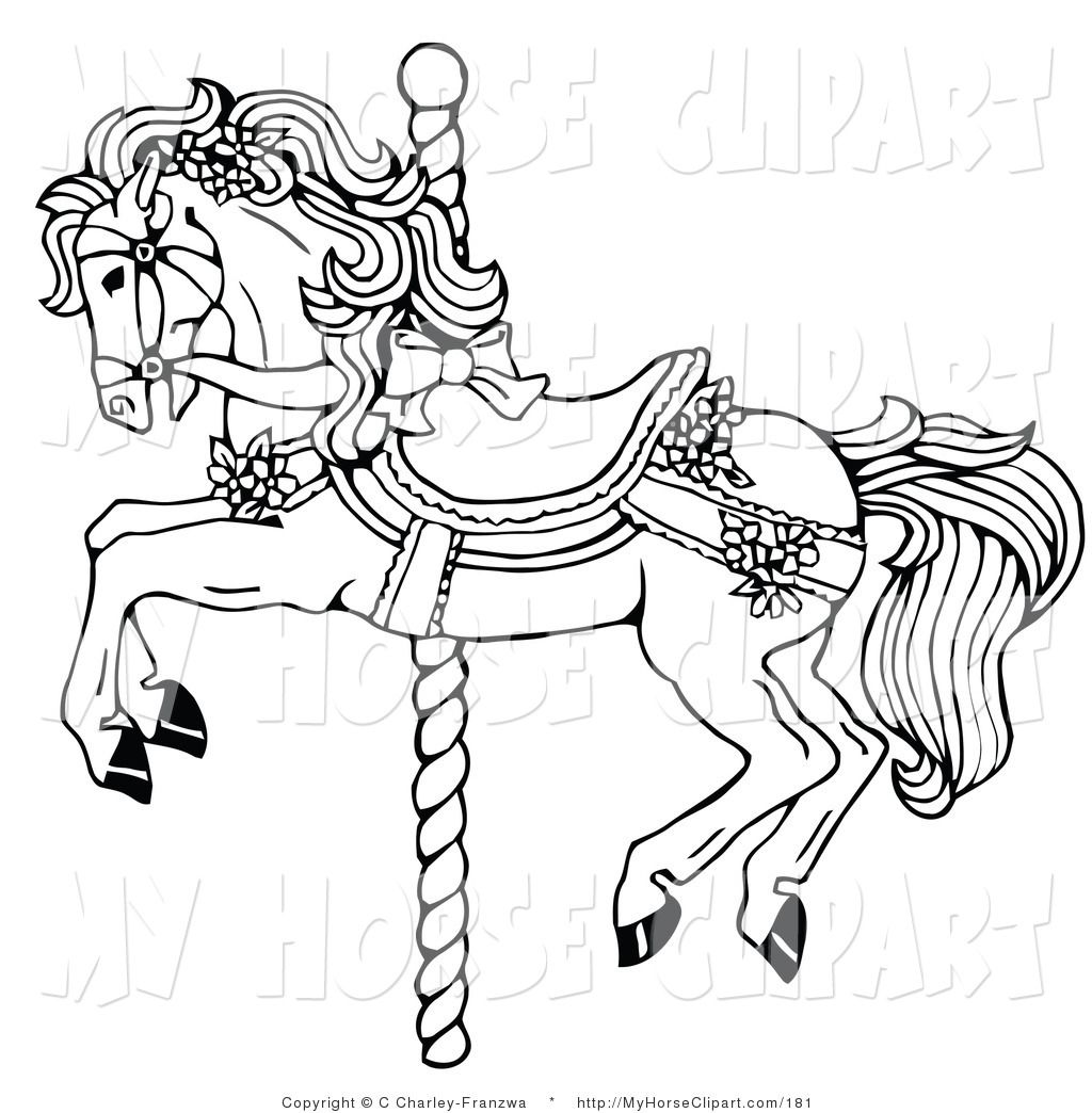 picture transparent library Clip art of a. Carousel clipart black and white.
