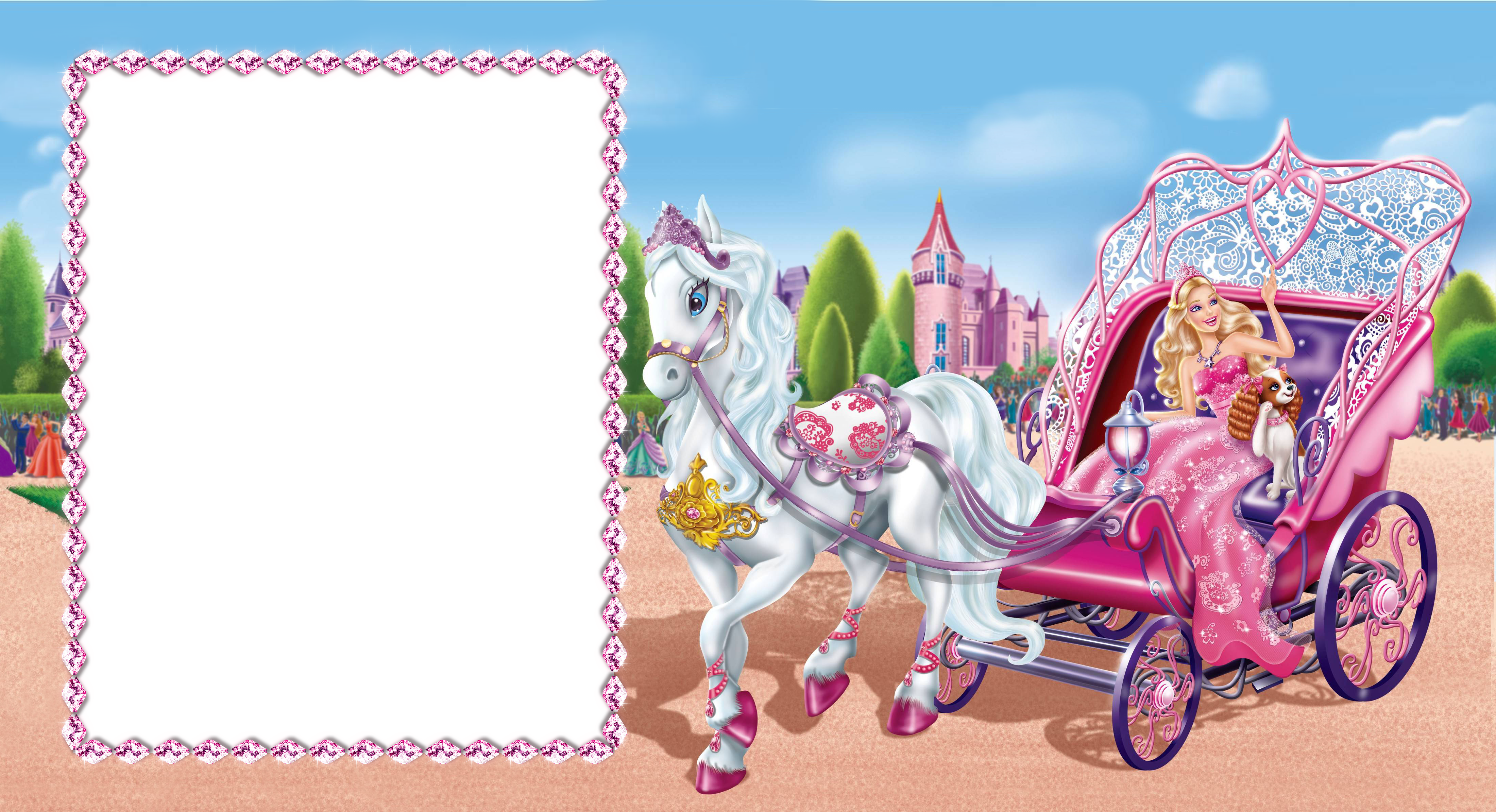 clipart black and white stock Barbie cute transparent photo. Carriage clipart frame.