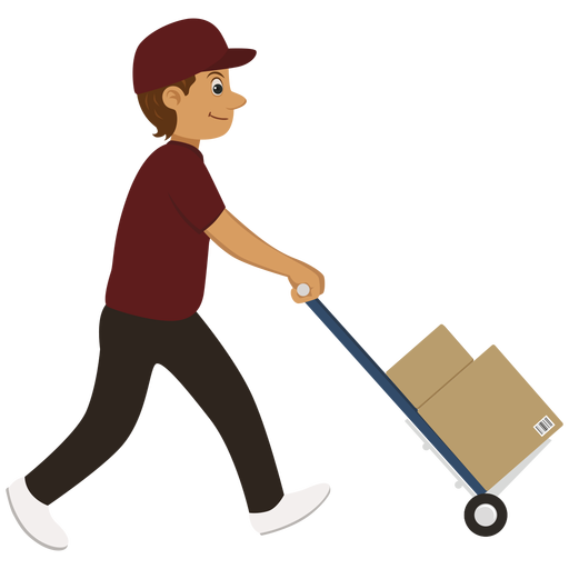 image library stock Delivery man carrying trolley png