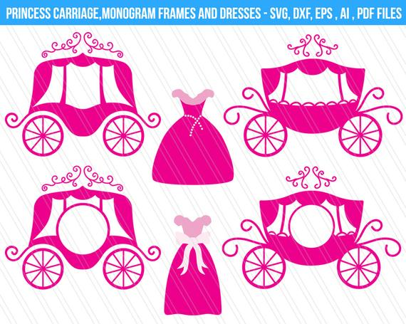 clipart freeuse library Princess svg cutting files. Carriage clipart frame.
