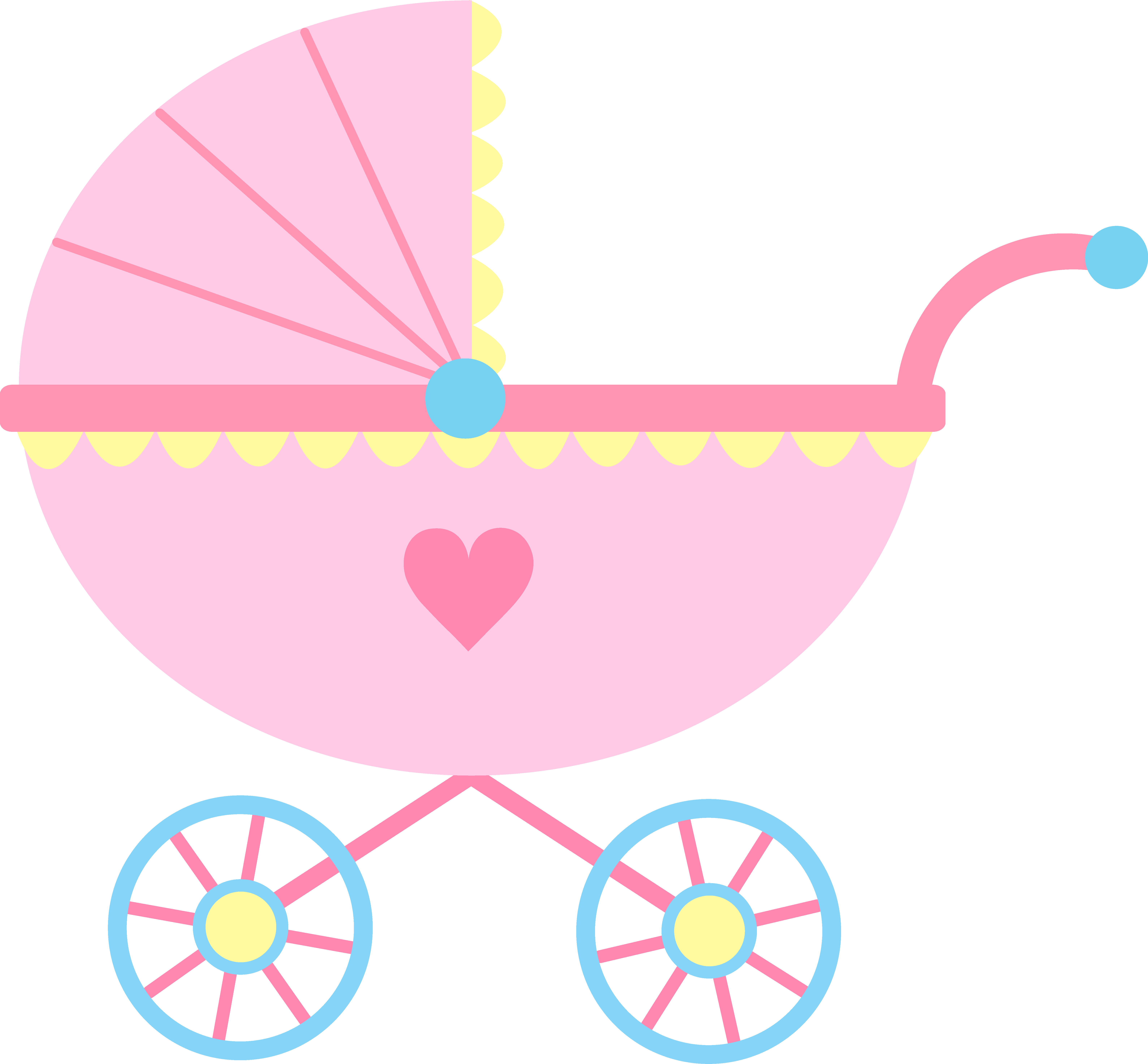 jpg freeuse library Pink baby kim sun. Carriage clipart frame.