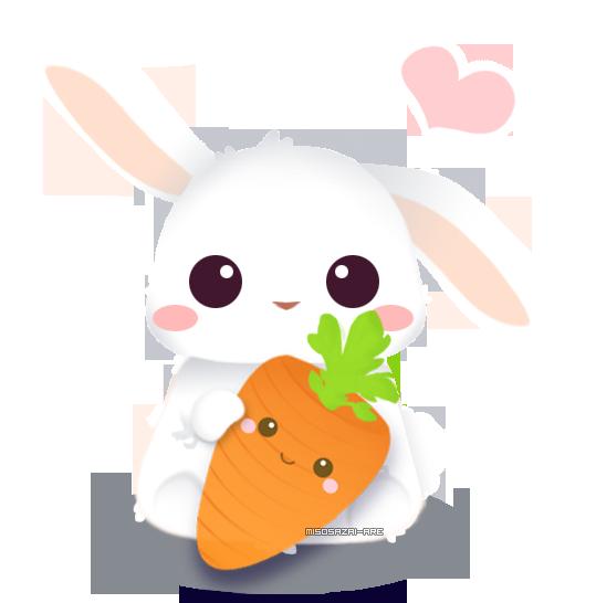 transparent stock Vector carrot bunny. I love you backgroundless