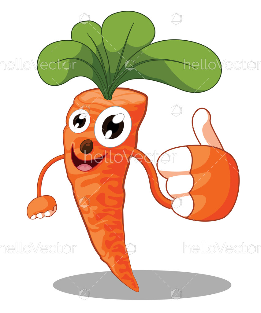 clipart black and white download Vector carrot cartoon. Giving thumbs up cute